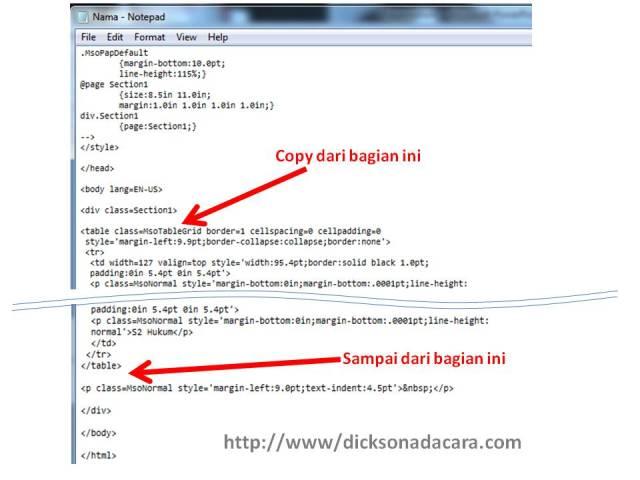 kode html yang diperlukan untuk tabel blogger