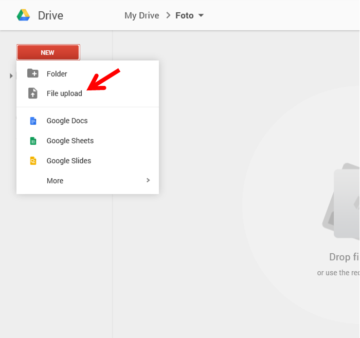 upload file dari Google drive