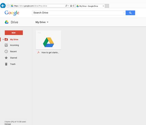 Menu My drive Google Drive