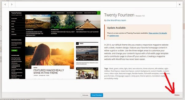 Cara menghapus Theme WordPress