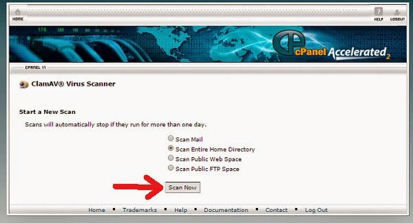 Klik Scan Now di Virus Scanner Cpanel