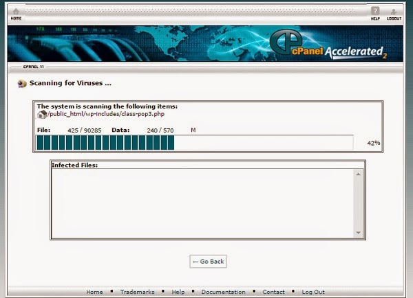 Scan Virus di Cpanel in Progress
