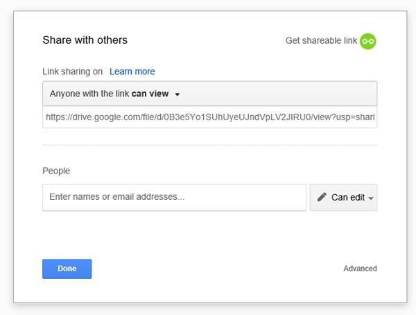 sharing file di Google drive