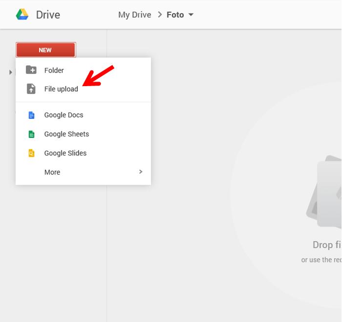 upload file dari Google drive