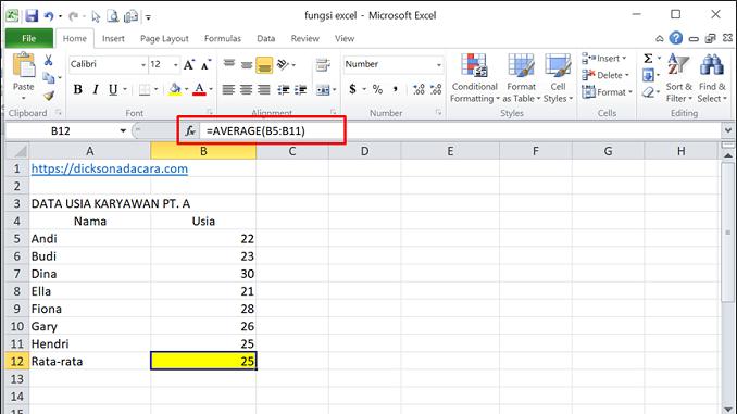 Cara Mengunakan Fungsi Average pada Excel - 1 rentang sel