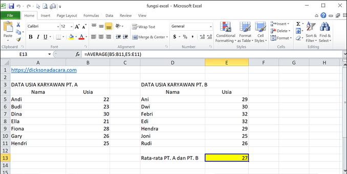 Cara Mengunakan Fungsi Average pada Excel - 2 rentang sel