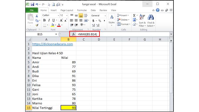Cara Menggunakan Fungsi Max pada Excel - 1 number