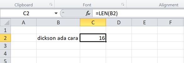 Cara Menghitung Jumlah Karakter di Excel dengan Fungsi LEN